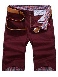 Check Print Panel Zipper Fly Bermuda Shorts -