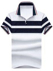 Polo T-shirt Rayure Large à Manches Courtes -