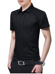 Button Up Solid Color Slim Fit Shirt -