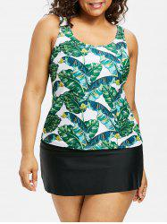 Ensemble de tankin à dos ouvert Palm Plus Size -
