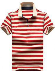 Slim Fit Ribbed Stripe Print Polo T-shirt -
