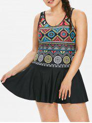 Geometric Plus Size Skirted Swimsuit -