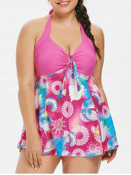 Plus Size Floral Skirted One Piece Swimsuit -