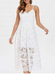 Spaghetti Strap Midi Lace Dress -