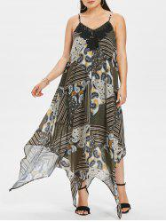 Plus Size Paisley Handkerchief Slip Dress -
