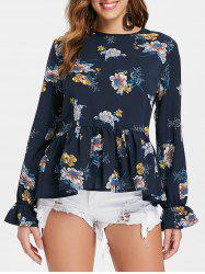 Printed Flounce Peasant Blouse -