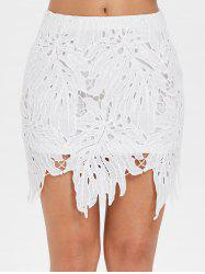 Hollow Out Mini Lace Skirt -