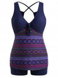 Bowknot Flower Print Plus Size Tankini Set -
