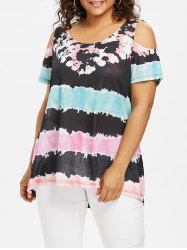 Open Shoulder Plus Size Color Block T-shirt -