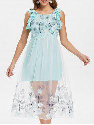 Mesh Insert Floral Embroidery A Line Dress -