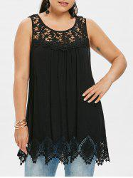Plus Size Cutwork Flower Trim Tank Top -