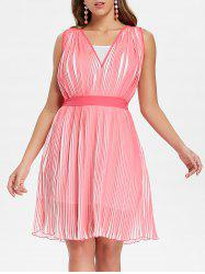 Chiffon Pleated Dress with Spaghetti Strap Dress -
