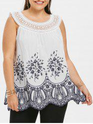 Floral Embroidery Plus Size Crochet Top -