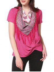 Knotted on Hemline Tee with Matching Scarf -
