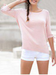 Round Neck Bow Tie Sleeves Causal Tee -