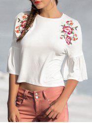 Horn Sleeve Floral Embroidery Top -