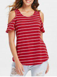 Striped Cold Shoulder Plain T-shirt -