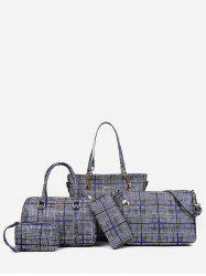 5 Pieces Plaid Large Capacity Shoulder Bag Set -
