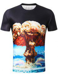 Short Sleeve 3D Mushroom Cloud Print Tee -