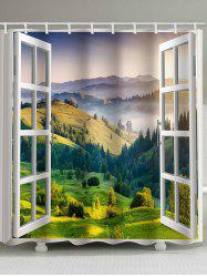Mountain Forest Landscape outside Window Printed Bath Curtain -