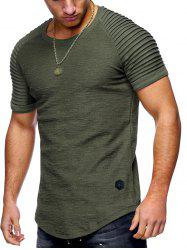 Solid Color Pleated Sleeve Curved Hem T-shirt -