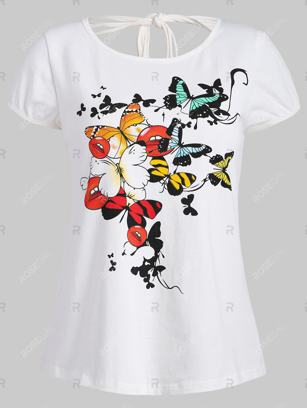 Buy Ripped Butterfly Print Graphic Tee