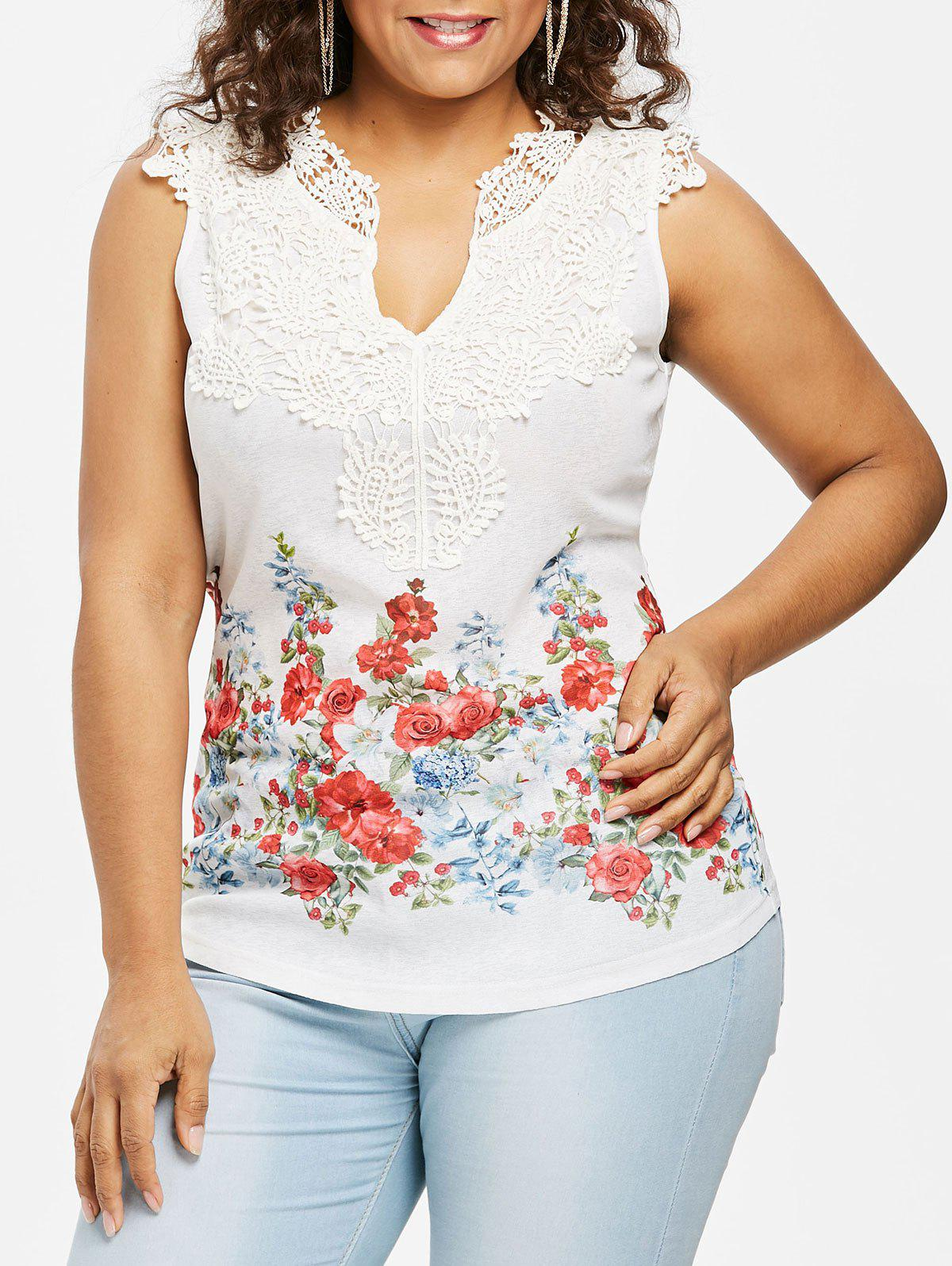 Discount Plus Size Floral Lace Trim V Neck Tank Top