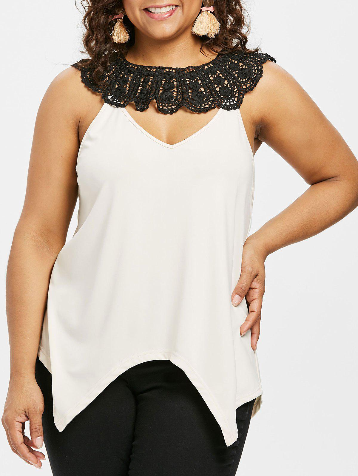 Cheap Plus Size Crochet Lace Keyhole Blouse