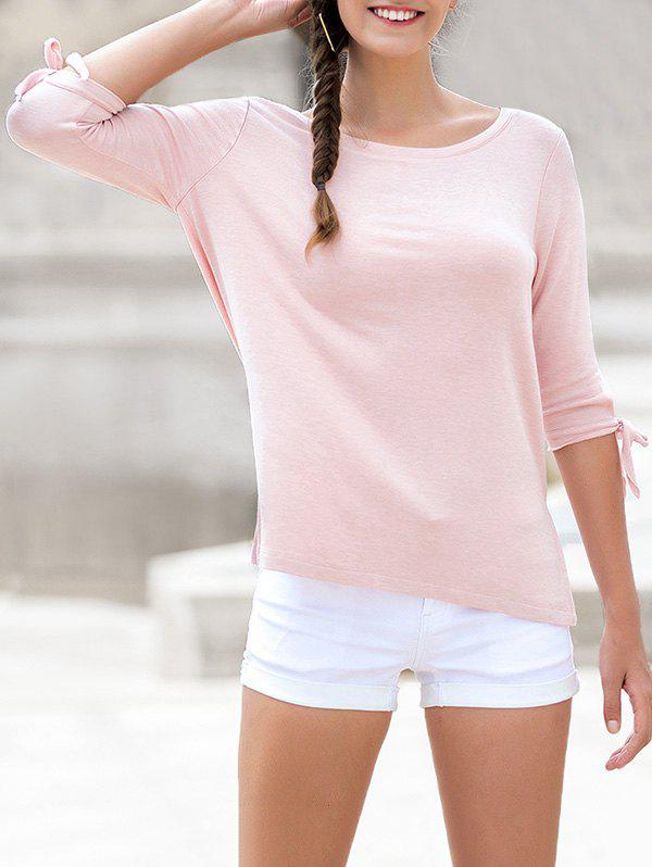 Fashion Round Neck Bow Tie Sleeves Causal Tee