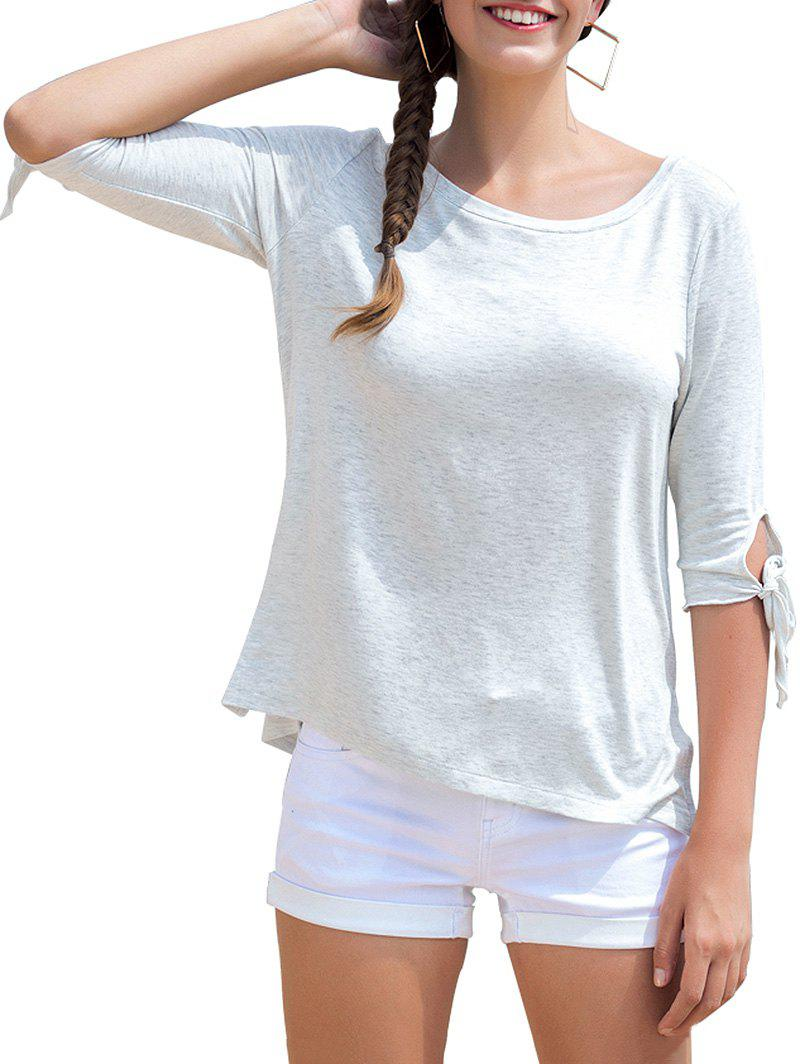 Buy Round Neck Bow Tie Sleeves Causal Tee