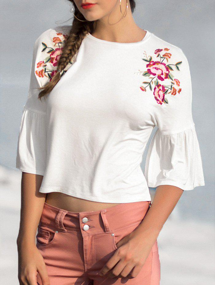 Fancy Horn Sleeve Floral Embroidery Top