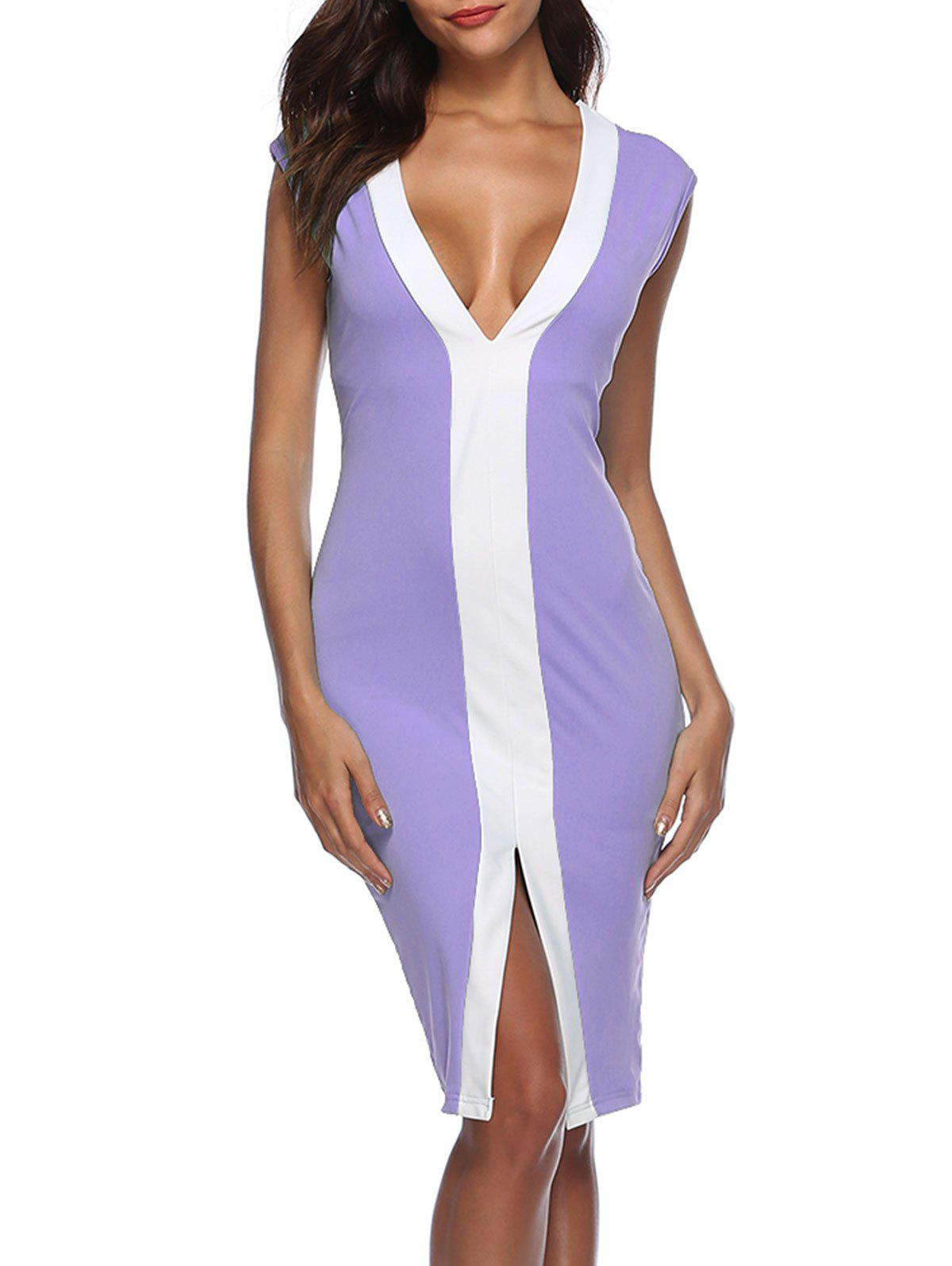 Hot Color Block Front Slit Bodycon Dress