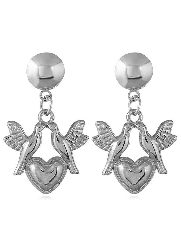 Shop Love Heart Pigeons Design Dangle Earrings