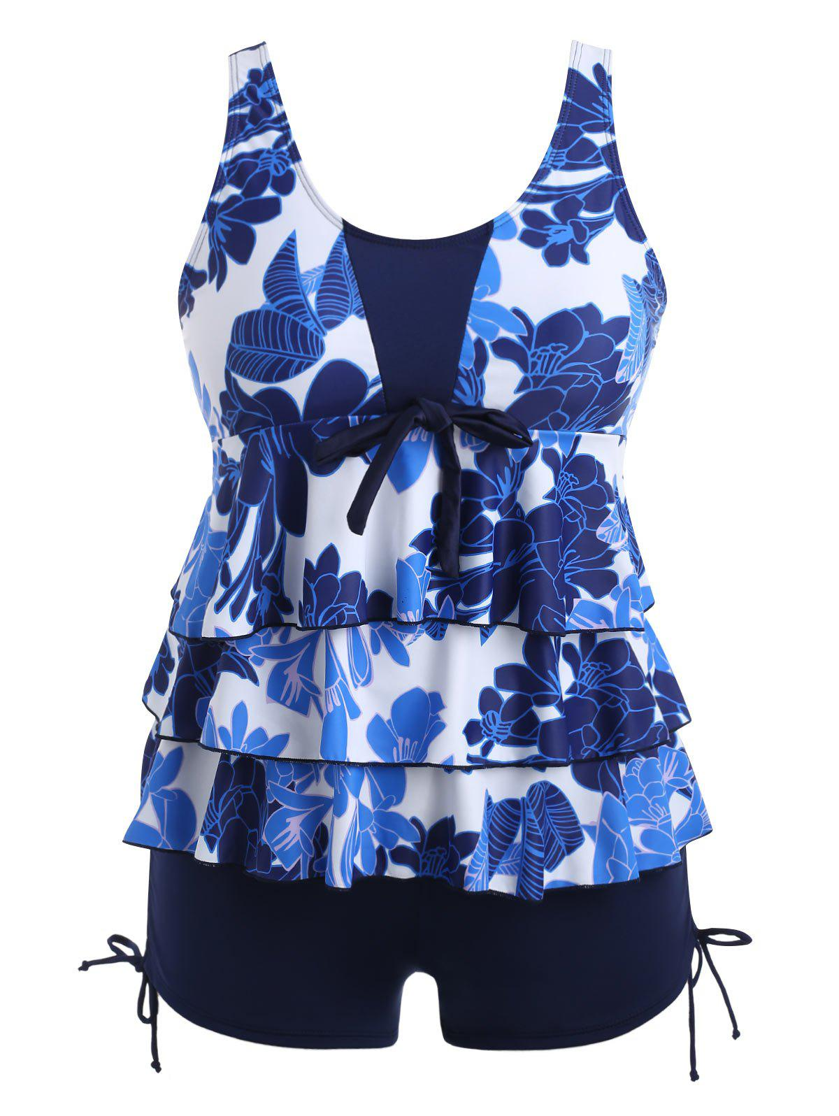 Outfit Plus Size Floral Tiered Tankini Set