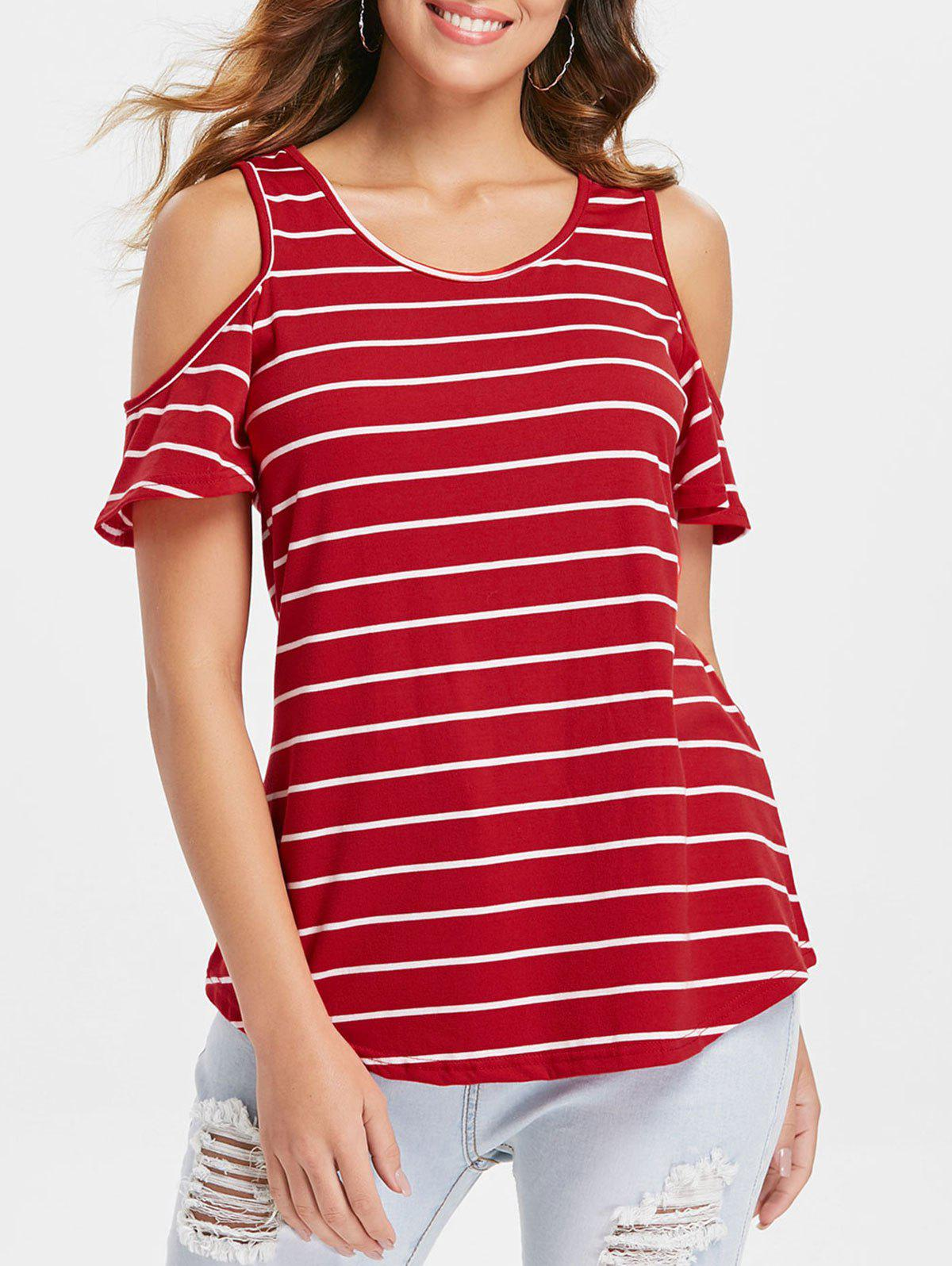Online Striped Cold Shoulder Plain T-shirt