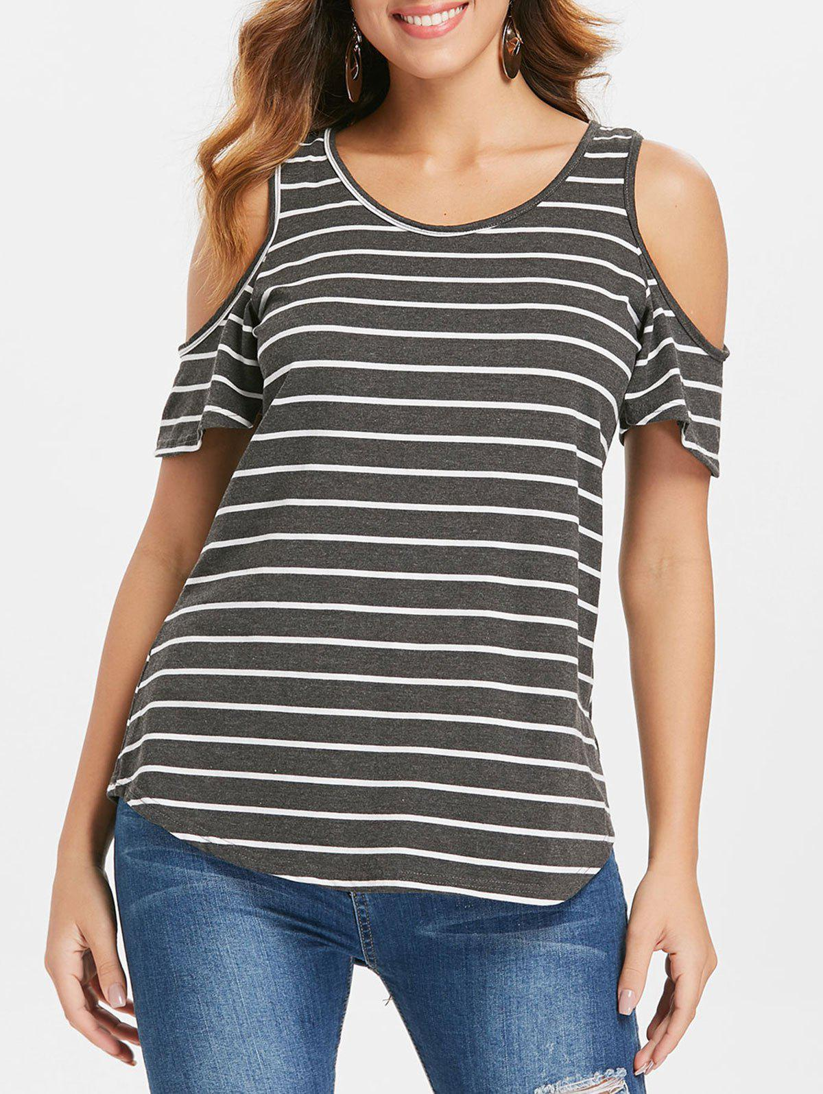Shops Striped Cold Shoulder Plain T-shirt