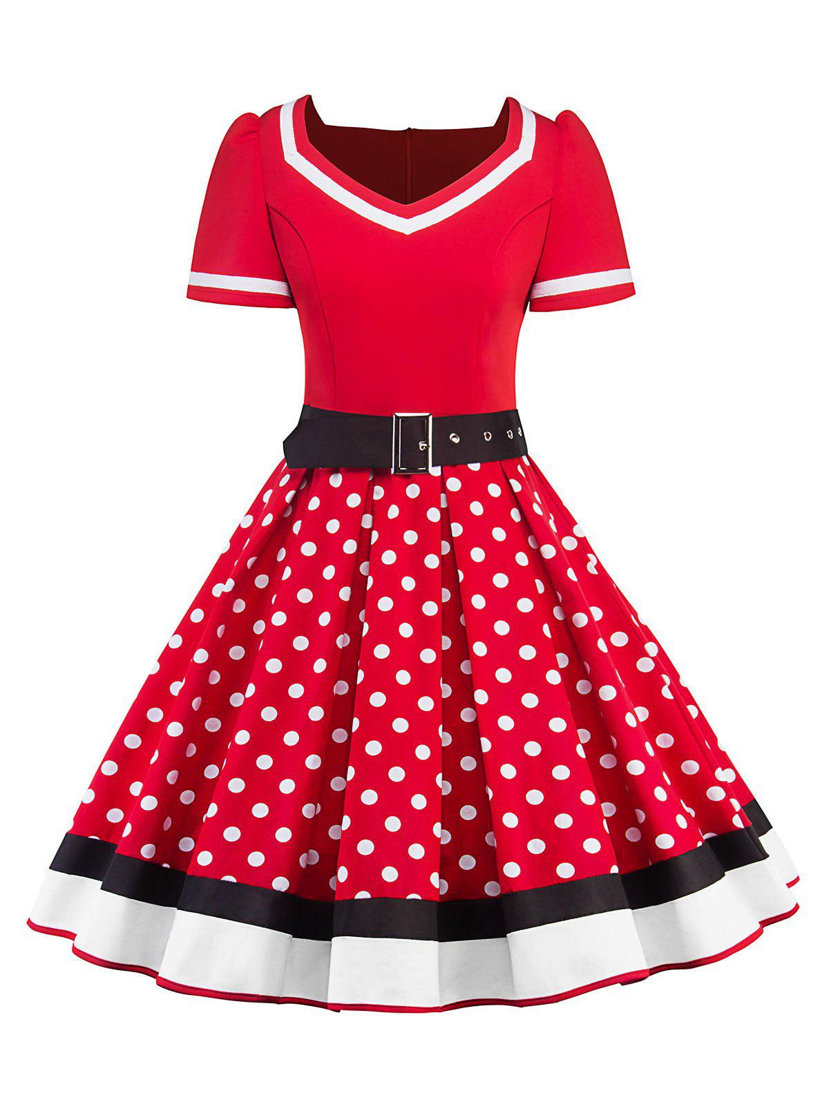 Outfits Sweetheart Neck Polka Dot Insert Swing Dress
