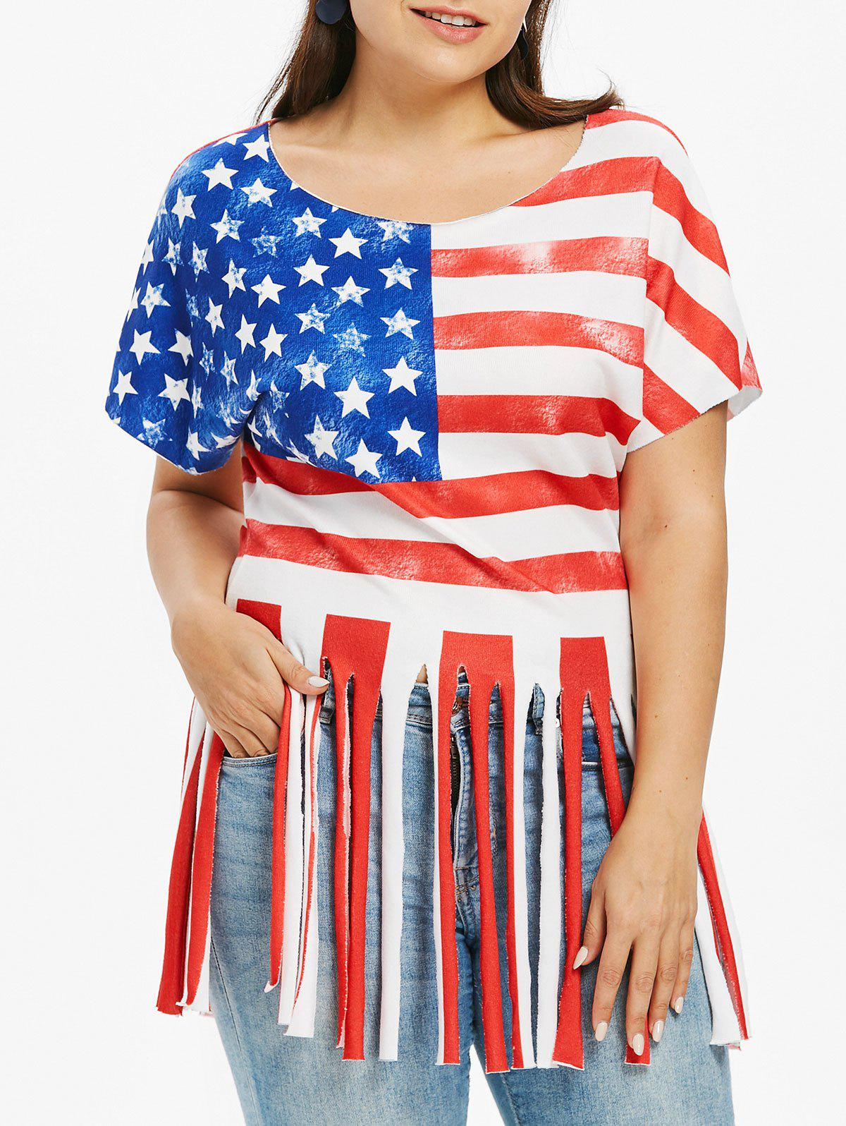 Unique Plus Size Fringe American Flag Patriotic T-shirt