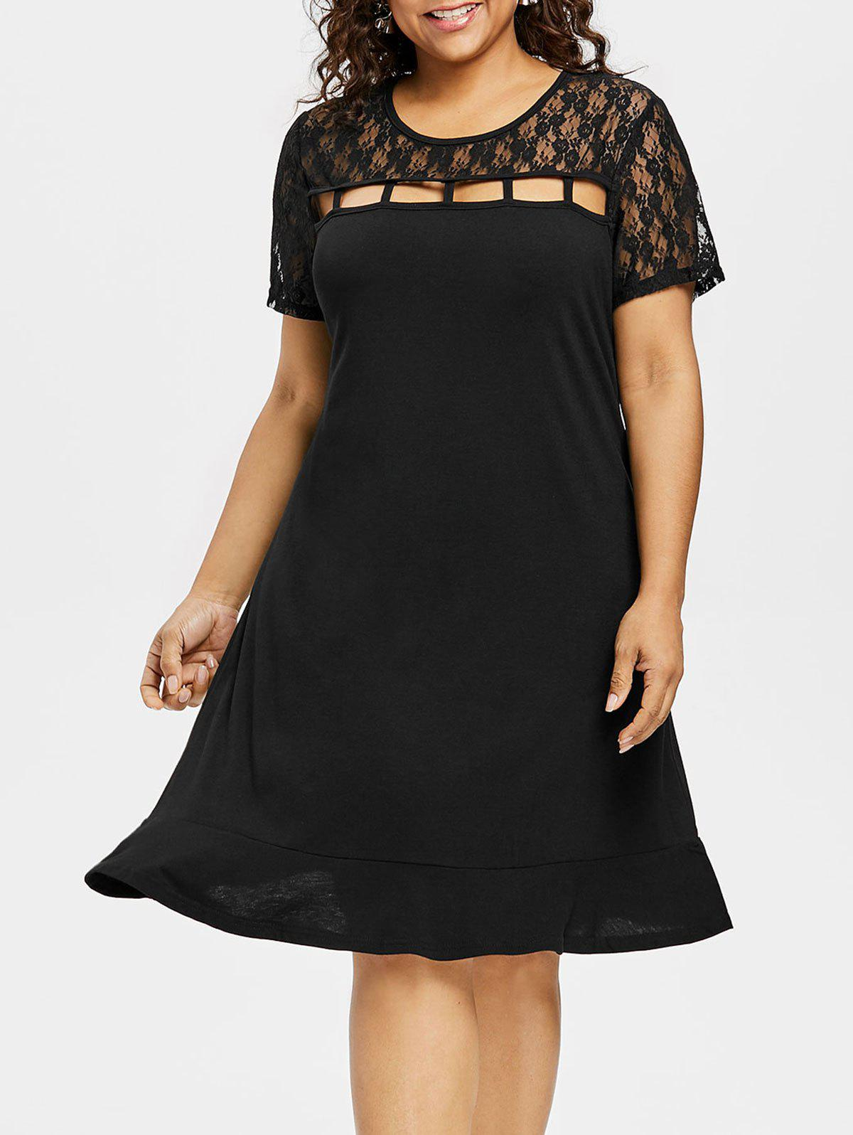 Shops Lace Panel Plus Size Ladder Cut Out Dress