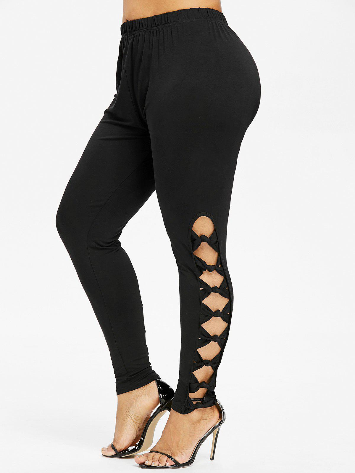 Discount Plus Size Bowknot Cut Leggings