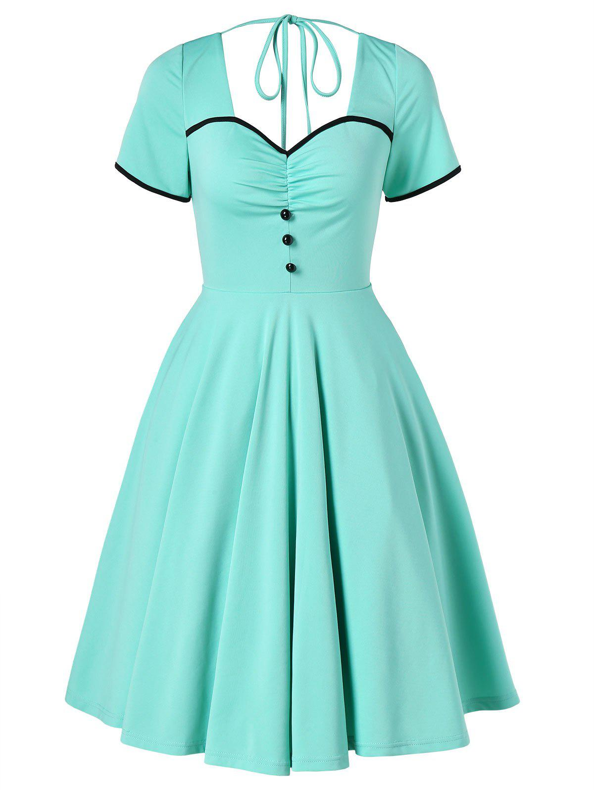 Fashion Vintage Buttons Open Back Skater Dress