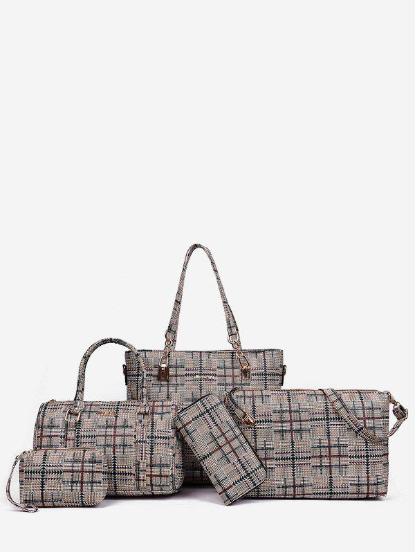 Latest 5 Pieces Plaid Large Capacity Shoulder Bag Set