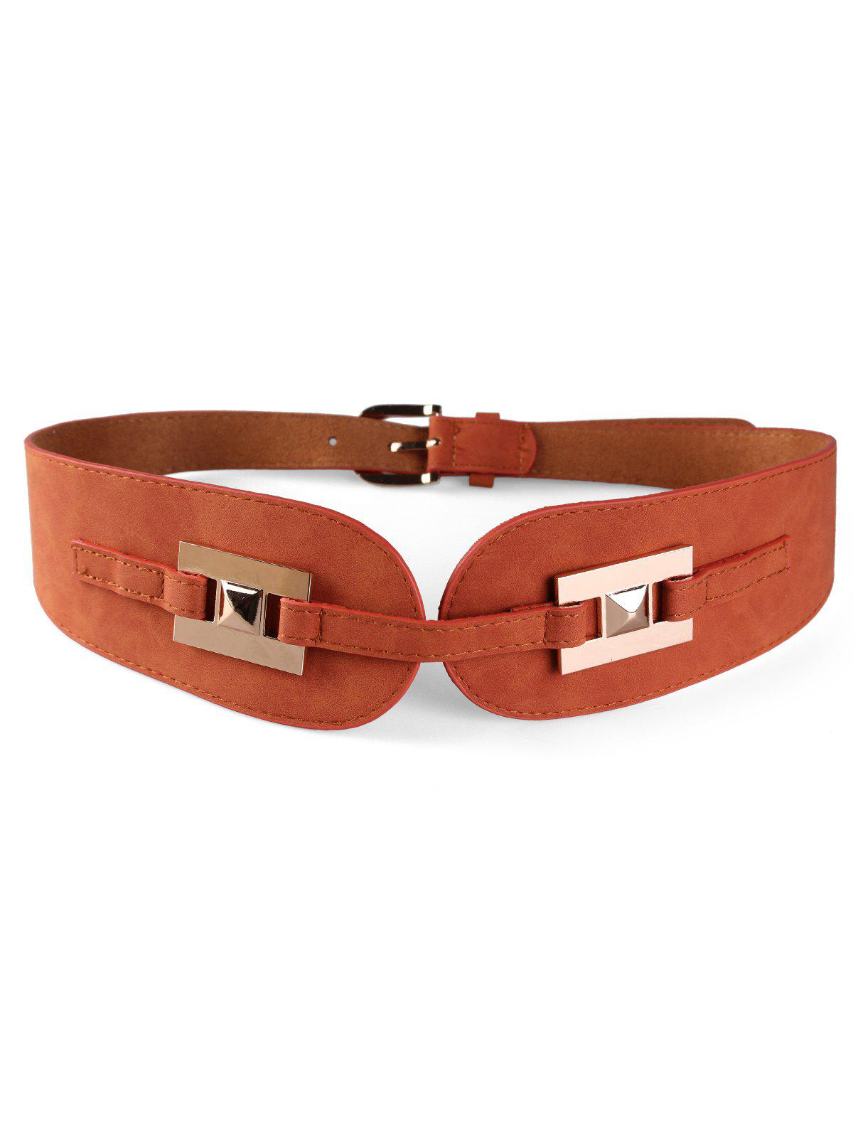 Fancy Unique Metal Buckle Suede Wide Waist Belt