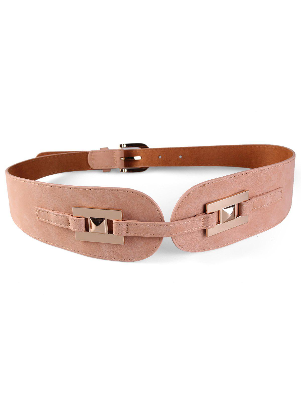 Latest Unique Metal Buckle Suede Wide Waist Belt