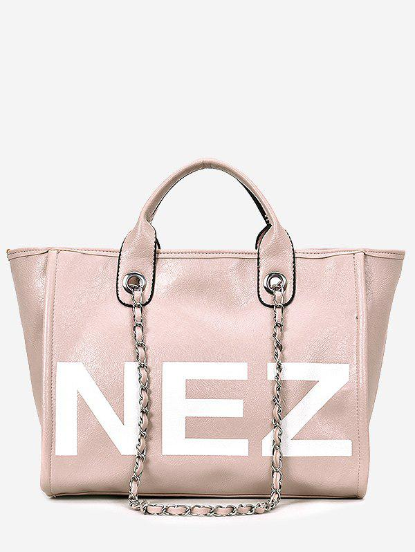 Latest Casual Outdoor Letter Print Tote Bag with Chain