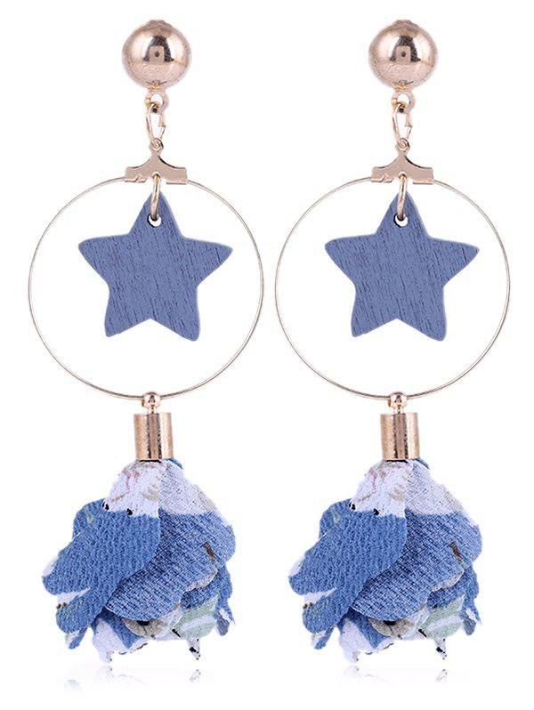 Chic Flower Cloth Wooden Star Circle Drop Earrings