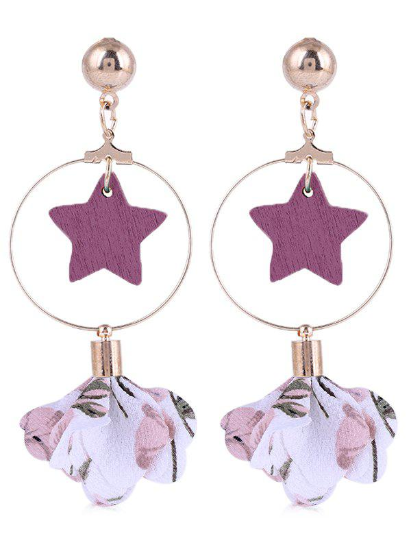 Latest Flower Cloth Wooden Star Circle Drop Earrings
