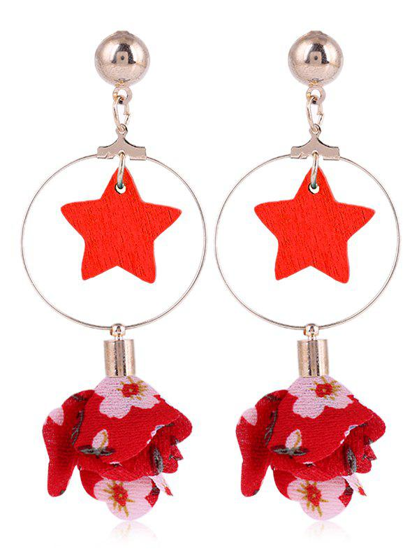 Unique Flower Cloth Wooden Star Circle Drop Earrings