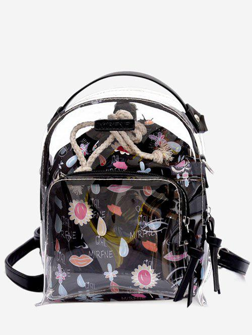 Online Leisure Beach Transparent Print 2 Pieces Backpack Set