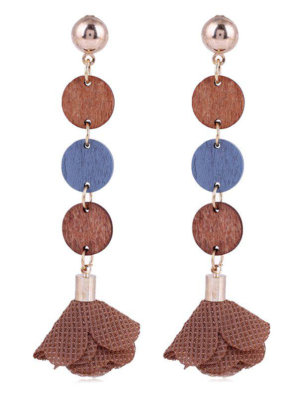 Outfit Floral Cloth Wooden Round Drop Earrings